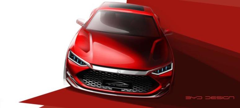 比亚迪发布汉DM设计图 轿跑风格设计