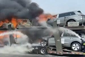 8辆新款理想ONE未发布就被烧毁 因拖挂车起火